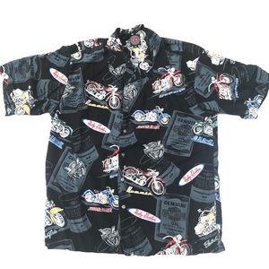 Vintage Harley Davidson Hawaiian Floral Shirt